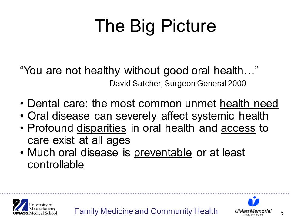 "Family Medicine and Community Health 5 The Big Picture ""You are not healthy without good oral health…"" David Satcher, Surgeon General 2000 Dental care"