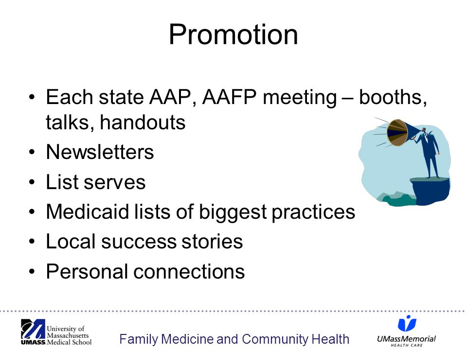 Family Medicine and Community Health Promotion Each state AAP, AAFP meeting – booths, talks, handouts Newsletters List serves Medicaid lists of biggest practices Local success stories Personal connections