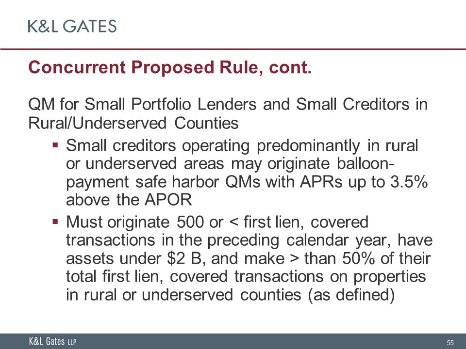 55 Concurrent Proposed Rule, cont.