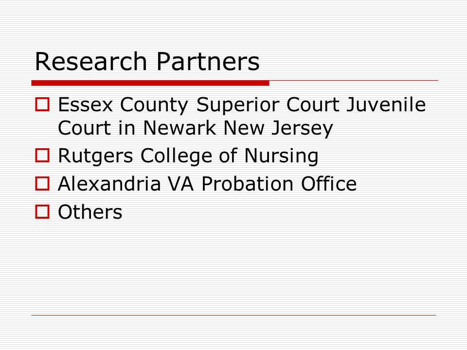 Research Partners  Essex County Superior Court Juvenile Court in Newark New Jersey  Rutgers College of Nursing  Alexandria VA Probation Office  Others