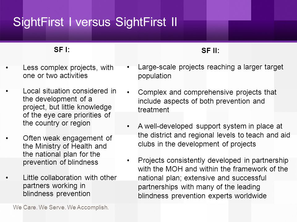Key Principles 1.Develop comprehensive eye care systems 2.Target underserved populations 3.Deliver high-quality eye care services 4.Create sustainable eye care services 5.Use data to identify and evaluate efforts 6.Hands-on Lions involvement 7.Emphasis on strategic partnerships with corporations, governments and NGOs.