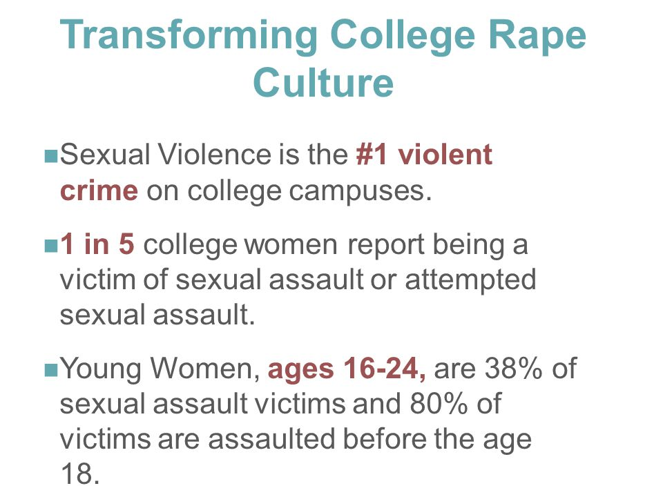 Sexual Violence is the #1 violent crime on college campuses.