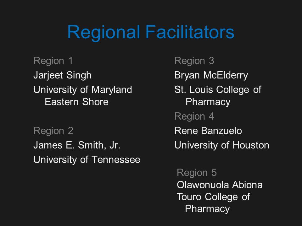Regional Facilitators Region 1 Jarjeet Singh University of Maryland Eastern Shore Region 2 James E.