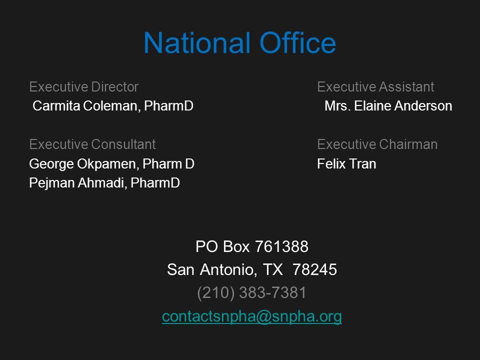 National Office Executive Director Executive Assistant Carmita Coleman, PharmD Mrs.