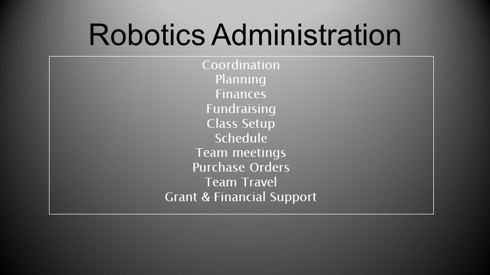Robotics Administration Coordination Planning Finances Fundraising Class Setup Schedule Team meetings Purchase Orders Team Travel Grant & Financial Su