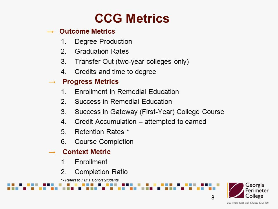 CCG Metrics → Outcome Metrics 1.Degree Production 2.Graduation Rates 3.Transfer Out (two-year colleges only) 4.Credits and time to degree →Progress Metrics 1.Enrollment in Remedial Education 2.Success in Remedial Education 3.Success in Gateway (First-Year) College Course 4.Credit Accumulation – attempted to earned 5.Retention Rates * 6.Course Completion →Context Metric 1.Enrollment 2.Completion Ratio * - Refers to FT/FT Cohort Students 8