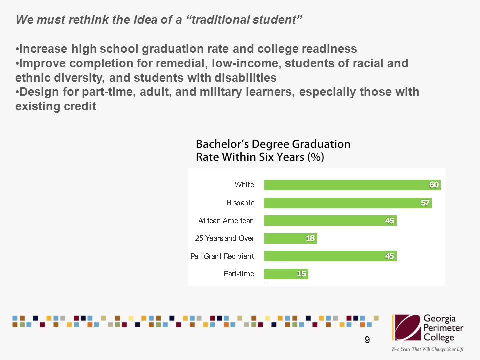 We must rethink the idea of a traditional student Increase high school graduation rate and college readiness Improve completion for remedial, low-income, students of racial and ethnic diversity, and students with disabilities Design for part-time, adult, and military learners, especially those with existing credit 9