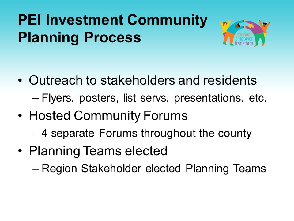 PEI Investment Community Planning Process Outreach to stakeholders and residents –Flyers, posters, list servs, presentations, etc.