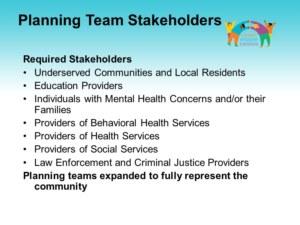 Planning Team Stakeholders Required Stakeholders Underserved Communities and Local Residents Education Providers Individuals with Mental Health Concerns and/or their Families Providers of Behavioral Health Services Providers of Health Services Providers of Social Services Law Enforcement and Criminal Justice Providers Planning teams expanded to fully represent the community