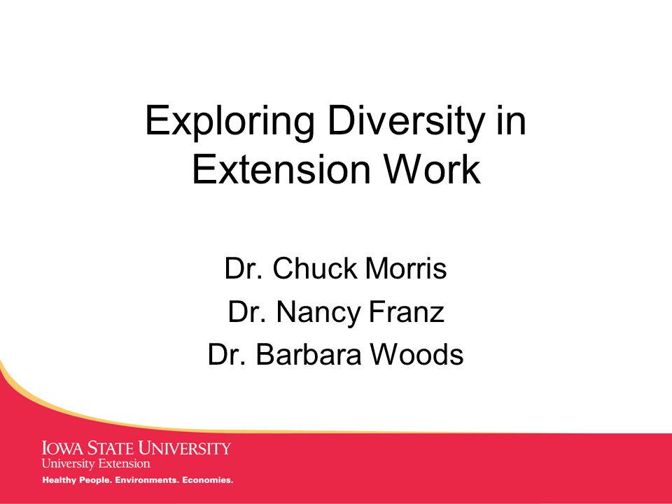 MANAGING Tough Times Exploring Diversity in Extension Work Dr.