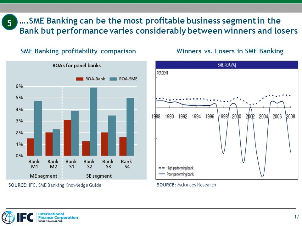 17 ….SME Banking can be the most profitable business segment in the Bank but performance varies considerably between winners and losers SME Banking pr