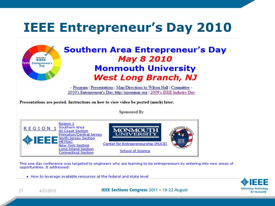 IEEE Entrepreneur's Day 2010 4/21/201521