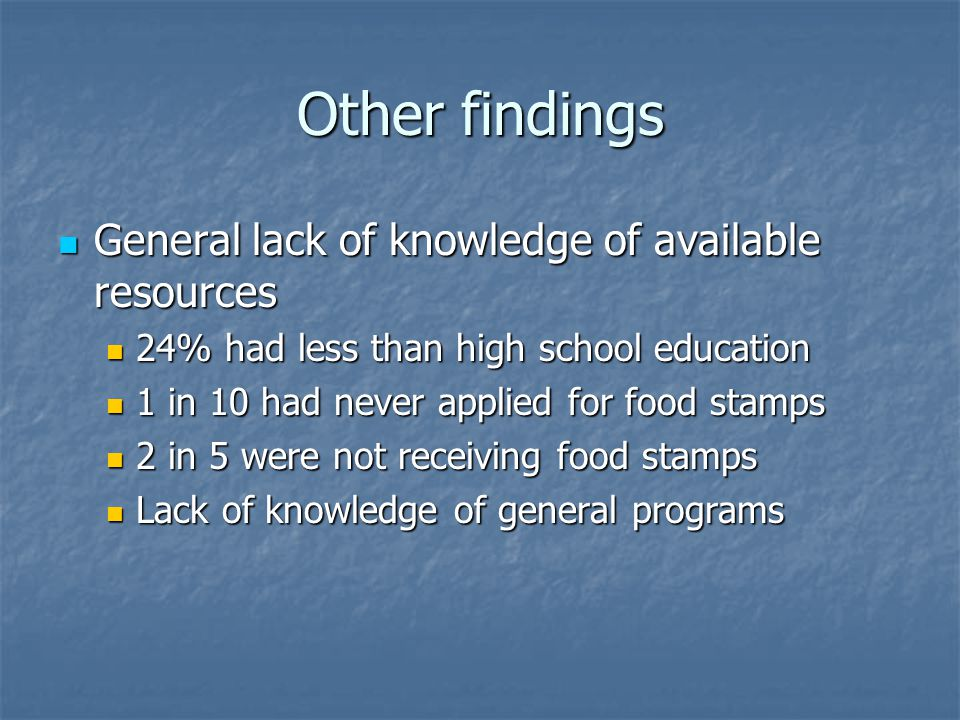 Other findings General lack of knowledge of available resources General lack of knowledge of available resources 24% had less than high school education 24% had less than high school education 1 in 10 had never applied for food stamps 1 in 10 had never applied for food stamps 2 in 5 were not receiving food stamps 2 in 5 were not receiving food stamps Lack of knowledge of general programs Lack of knowledge of general programs