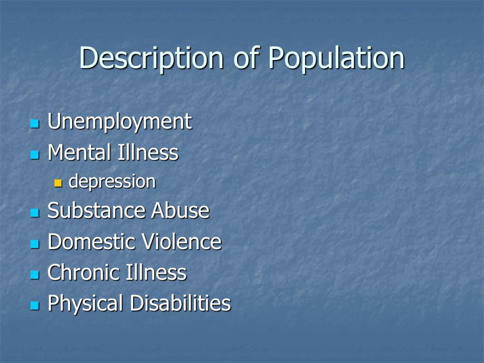 Description of Population Unemployment Unemployment Mental Illness Mental Illness depression depression Substance Abuse Substance Abuse Domestic Viole