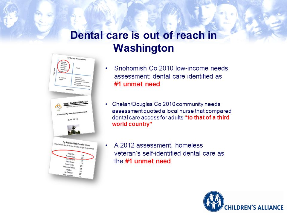 Snohomish Co 2010 low-income needs assessment: dental care identified as #1 unmet need Chelan/Douglas Co 2010 community needs assessment quoted a local nurse that compared dental care access for adults to that of a third world country A 2012 assessment, homeless veteran's self-identified dental care as the #1 unmet need Dental care is out of reach in Washington