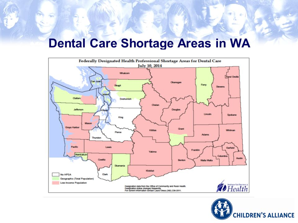 Dental Care Shortage Areas in WA