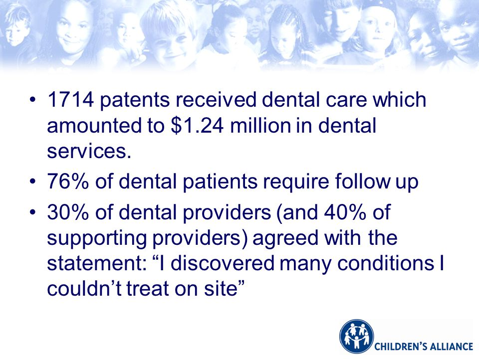 1714 patents received dental care which amounted to $1.24 million in dental services.