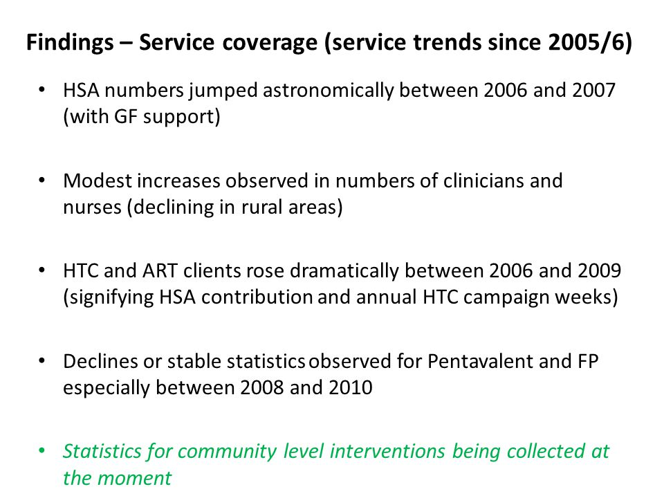 Service trends cont'd Trend data (Mangochi district overall) – example: