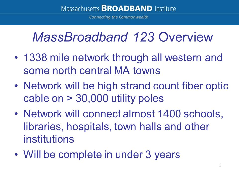 MassBroadband 123 Overview 1338 mile network through all western and some north central MA towns Network will be high strand count fiber optic cable o