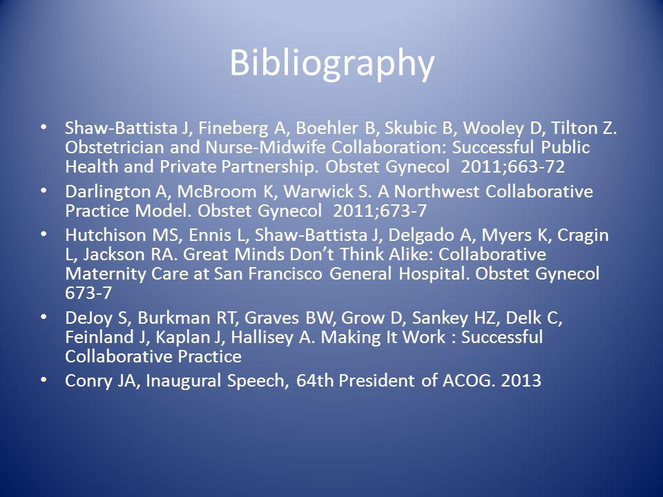Bibliography Shaw-Battista J, Fineberg A, Boehler B, Skubic B, Wooley D, Tilton Z.