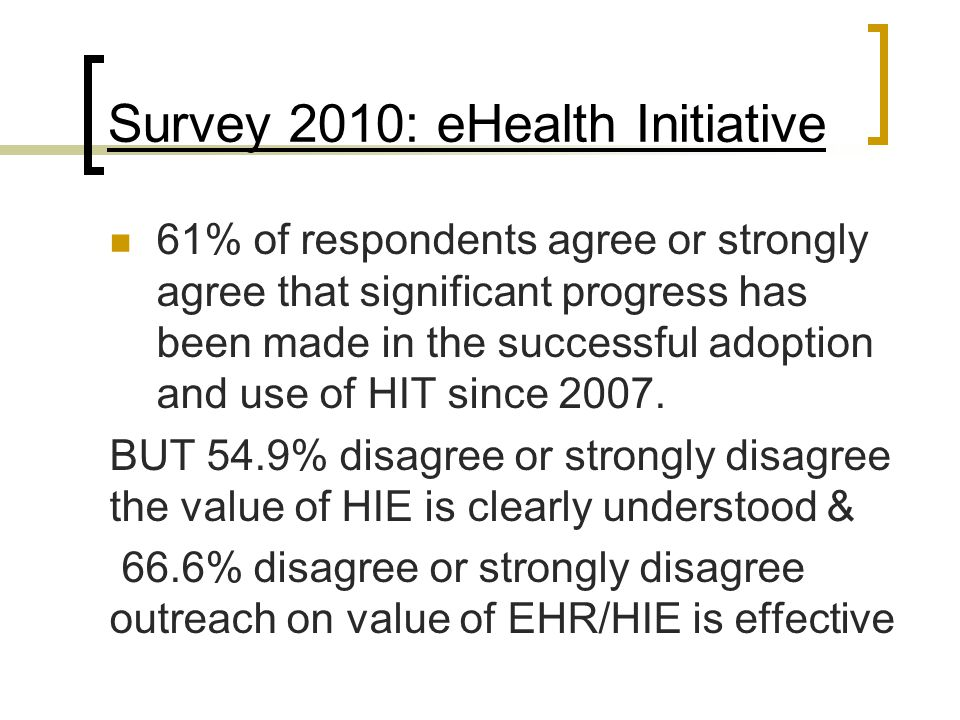 Survey 2010: eHealth Initiative 61% of respondents agree or strongly agree that significant progress has been made in the successful adoption and use