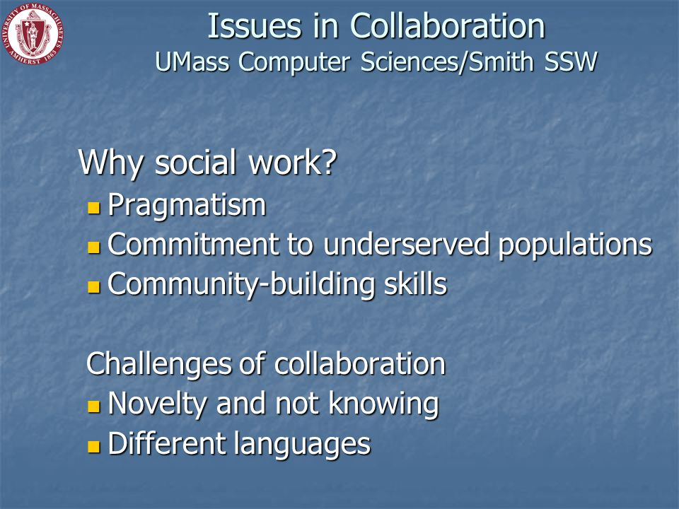 Issues in Collaboration UMass Computer Sciences/Smith SSW Why social work.
