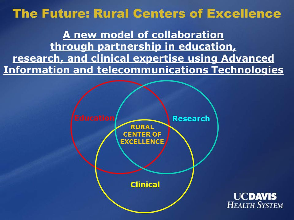 A new model of collaboration through partnership in education, research, and clinical expertise using Advanced Information and telecommunications Technologies The Future: Rural Centers of Excellence Education Research Clinical RURAL CENTER OF EXCELLENCE