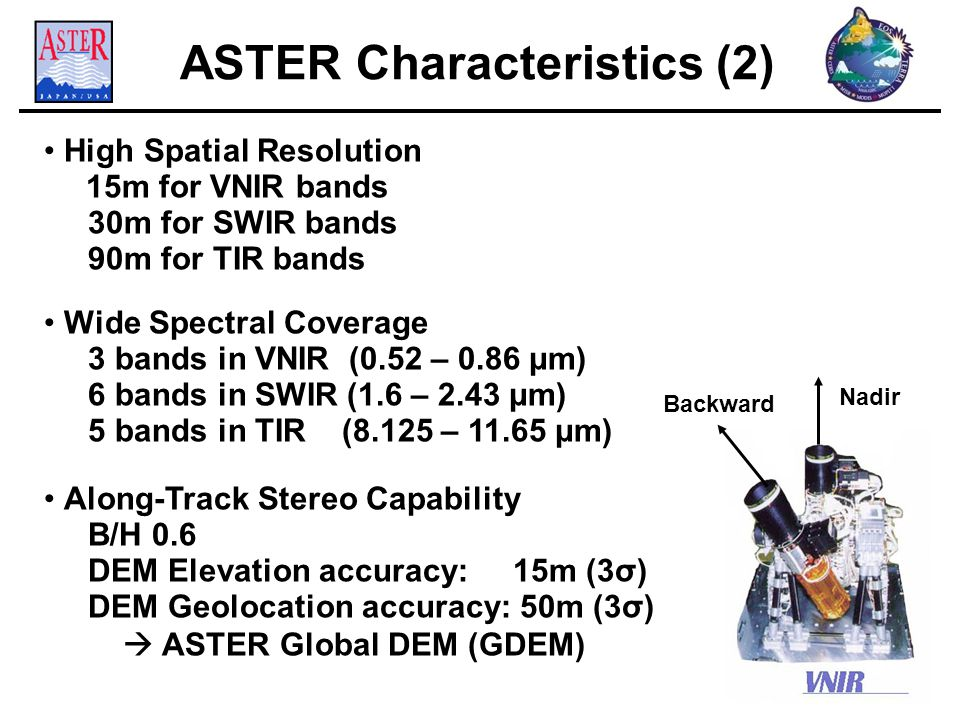 ASTER Characteristics (2) High Spatial Resolution 15m for VNIR bands 30m for SWIR bands 90m for TIR bands Wide Spectral Coverage 3 bands in VNIR (0.52