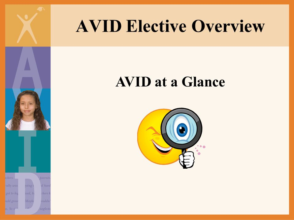 What AVID is… AVID is an acronym that stands for Advancement Via Individual Determination.