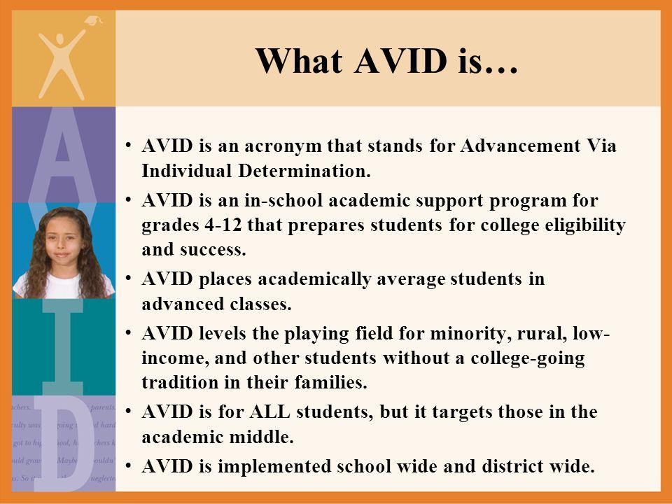 What AVID isn't… AVID isn't a remedial program.AVID isn't a free ride.