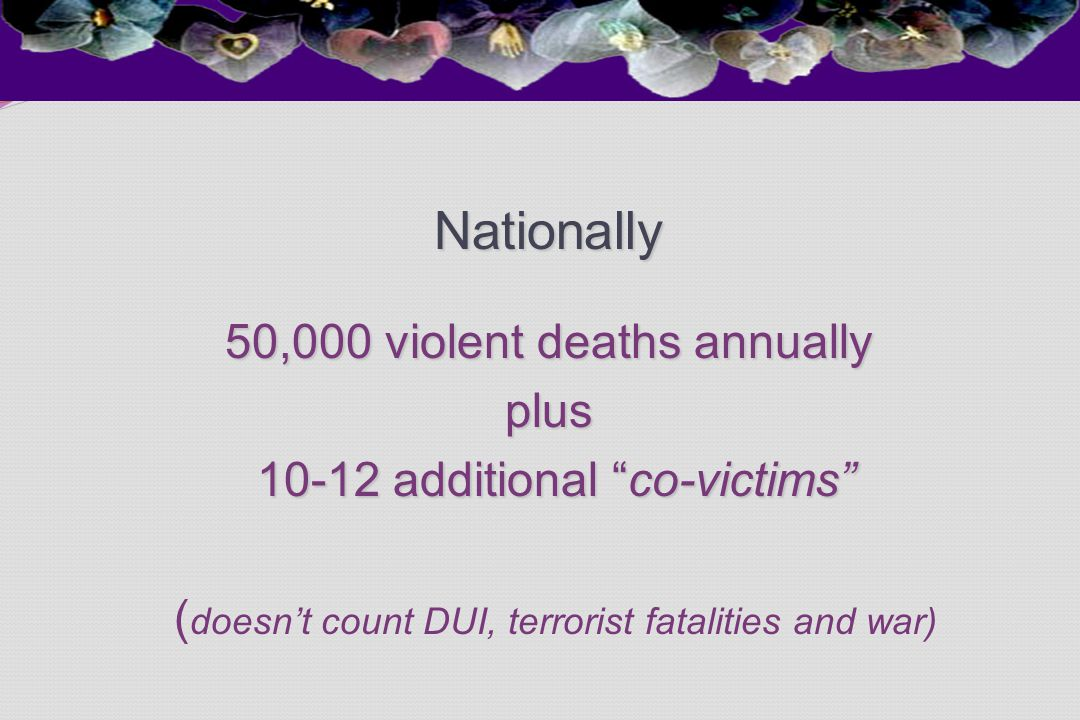 "Nationally 50,000 violent deaths annually plus 10-12 additional ""co-victims"" 10-12 additional ""co-victims"" ( doesn't count DUI, terrorist fatalities a"