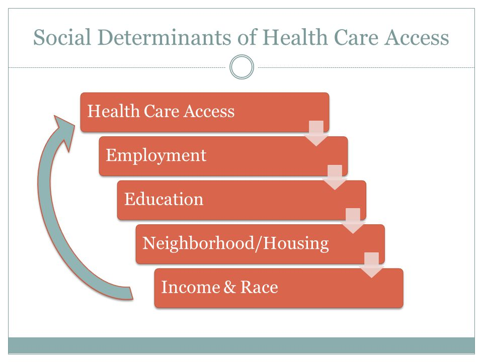 Social Determinants of Health Care Access Health Care AccessEmploymentEducationNeighborhood/HousingIncome & Race