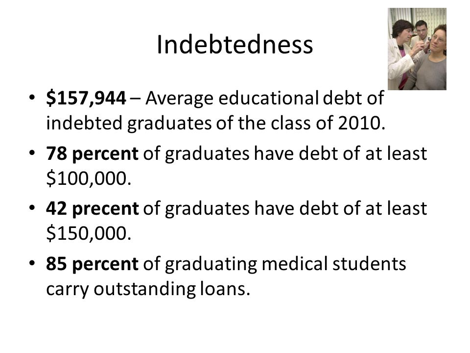 Indebtedness $157,944 – Average educational debt of indebted graduates of the class of 2010.