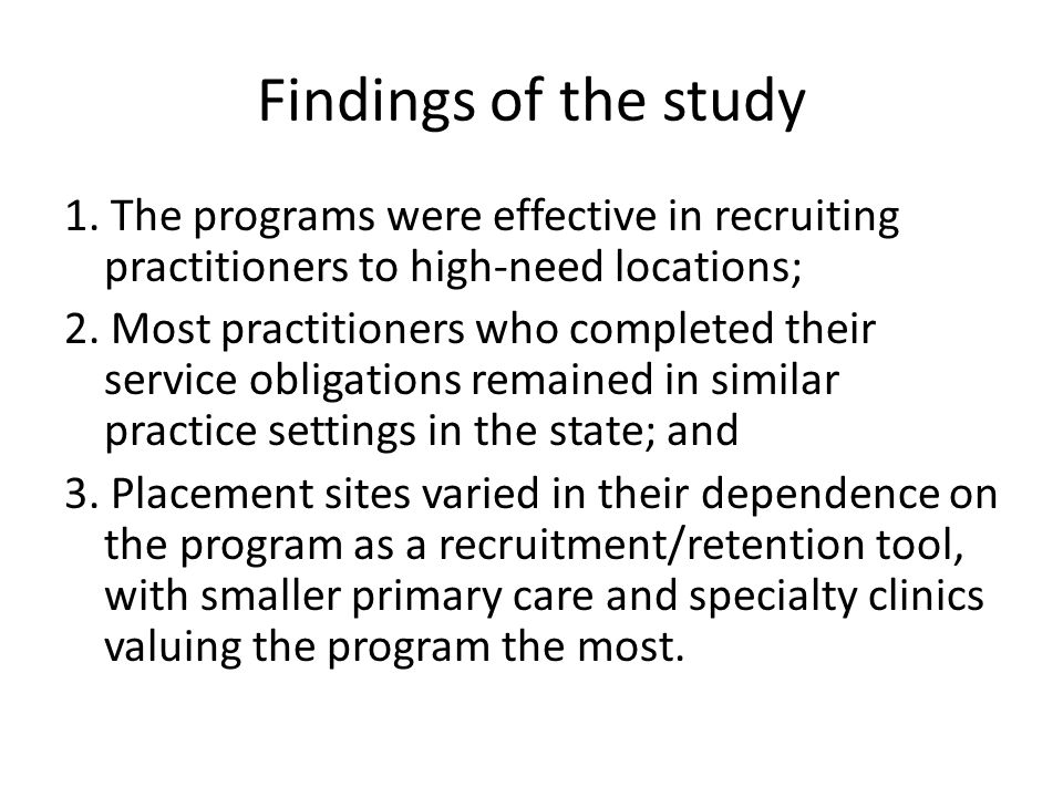 Findings of the study 1.