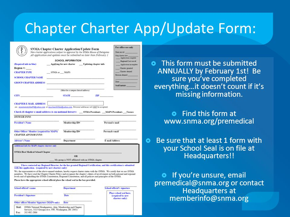 Chapter Charter App/Update Form:  This form must be submitted ANNUALLY by February 1st.
