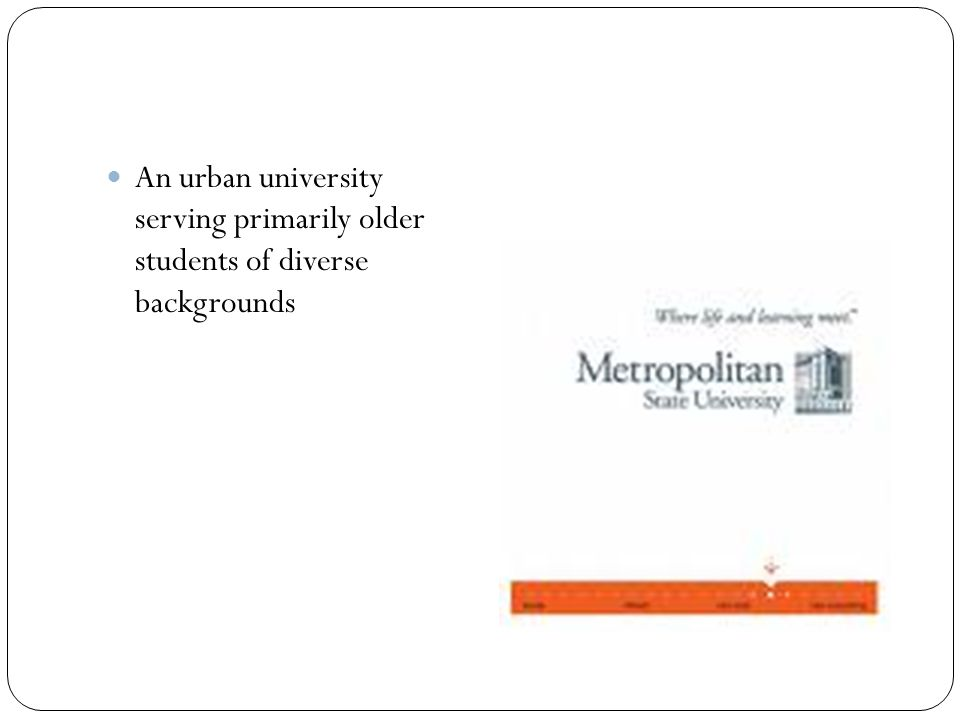 An urban university serving primarily older students of diverse backgrounds