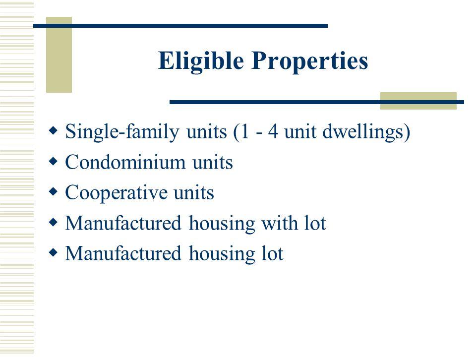 Eligible Properties  Single-family units (1 - 4 unit dwellings)  Condominium units  Cooperative units  Manufactured housing with lot  Manufactured housing lot