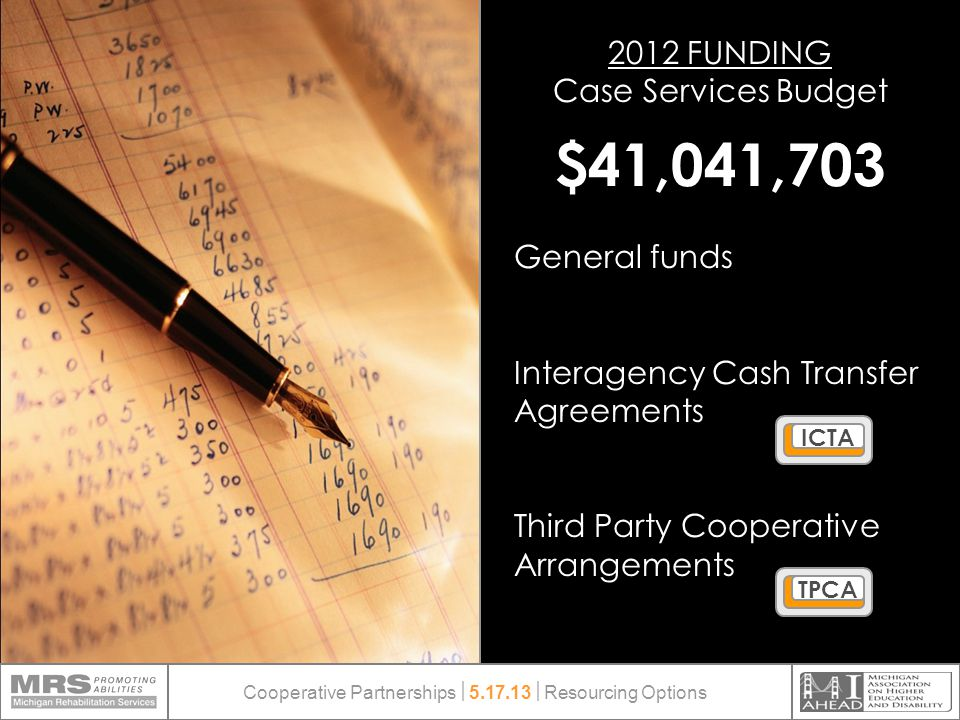 2012 FUNDING Case Services Budget $41,041,703 General funds Interagency Cash Transfer Agreements Third Party Cooperative Arrangements ICTATPCA Cooperative Partnerships  5.17.13  Resourcing Options