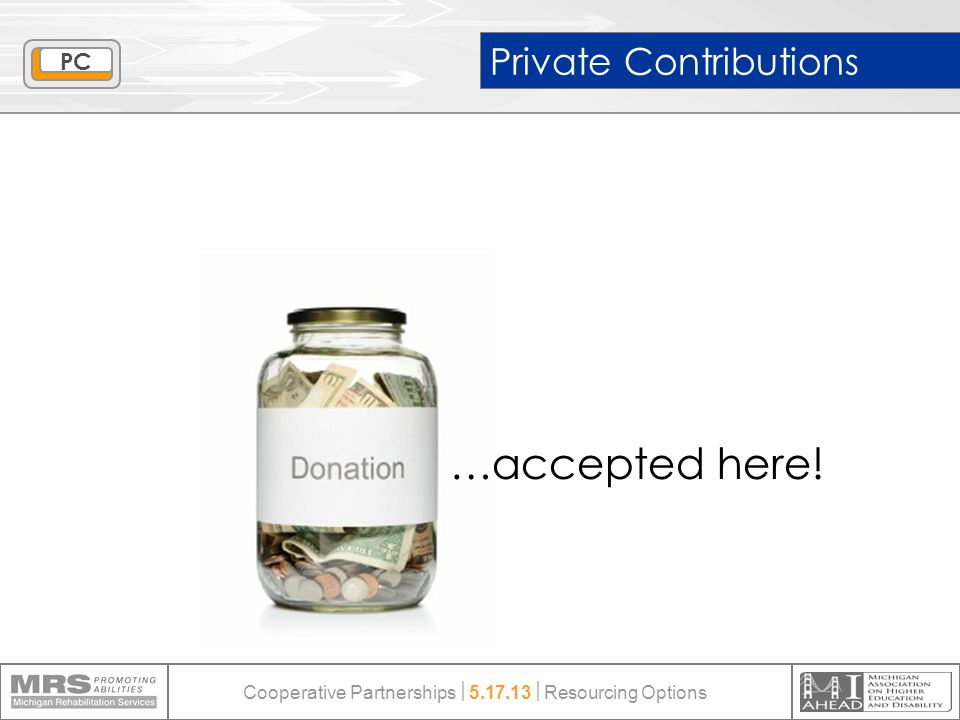 Private Contributions …accepted here! PC Cooperative Partnerships  5.17.13  Resourcing Options