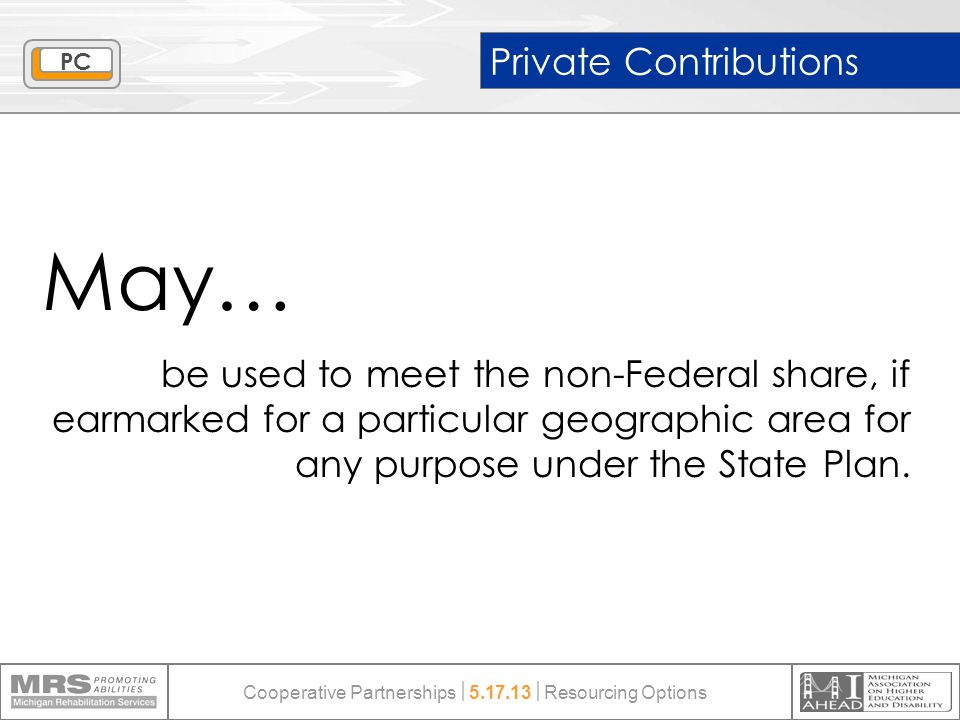 Private Contributions May… be used to meet the non-Federal share, if earmarked for a particular geographic area for any purpose under the State Plan.