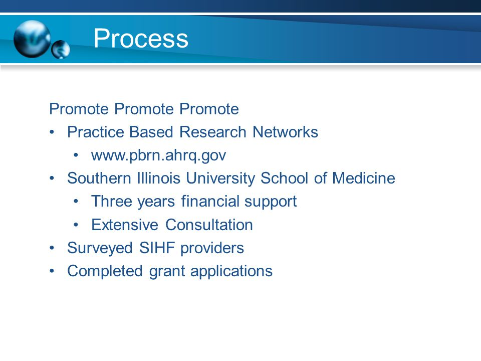 Process Promote Promote Promote Practice Based Research Networks www.pbrn.ahrq.gov Southern Illinois University School of Medicine Three years financial support Extensive Consultation Surveyed SIHF providers Completed grant applications