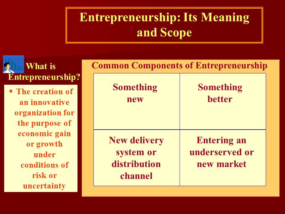 What is Entrepreneurship? Common Components of Entrepreneurship Entrepreneurship: Its Meaning and Scope  The creation of an innovative organization f