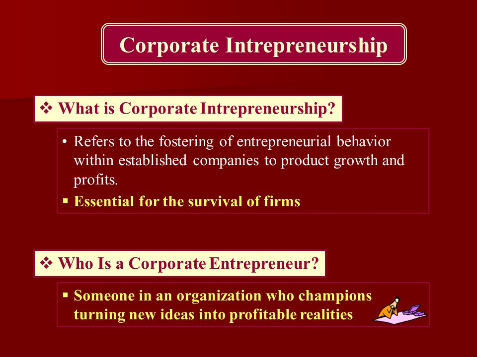 Corporate Intrepreneurship  What is Corporate Intrepreneurship? Refers to the fostering of entrepreneurial behavior within established companies to p