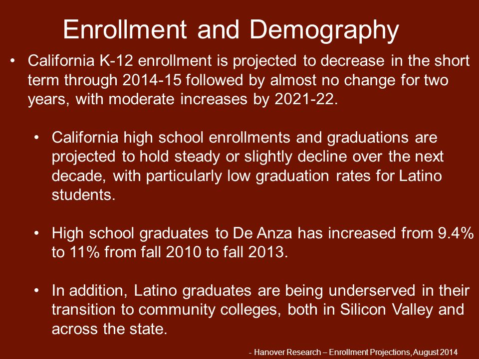 California K-12 enrollment is projected to decrease in the short term through 2014-15 followed by almost no change for two years, with moderate increa