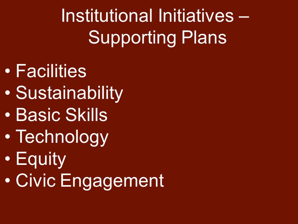 Facilities Sustainability Basic Skills Technology Equity Civic Engagement Institutional Initiatives – Supporting Plans