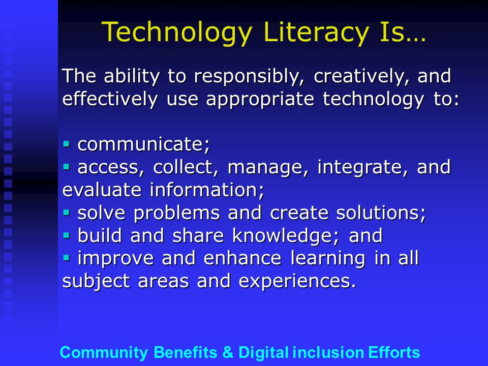 Community Benefits & Digital inclusion Efforts …and/or support for HARDWARE refurbishing programs & discounts Wireless card Wireless router