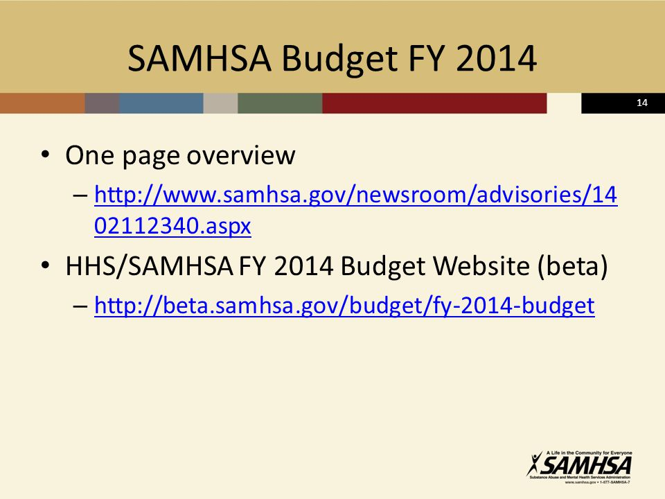 14 SAMHSA Budget FY 2014 One page overview – http://www.samhsa.gov/newsroom/advisories/14 02112340.aspx http://www.samhsa.gov/newsroom/advisories/14 02112340.aspx HHS/SAMHSA FY 2014 Budget Website (beta) – http://beta.samhsa.gov/budget/fy-2014-budget http://beta.samhsa.gov/budget/fy-2014-budget