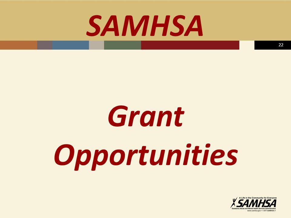 22 SAMHSA Grant Opportunities