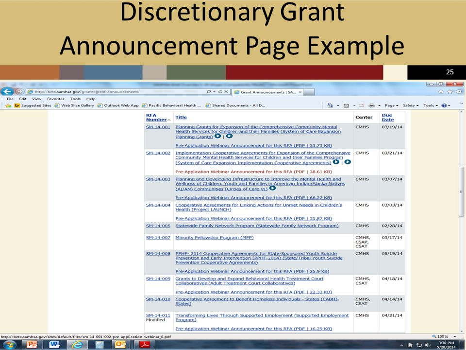 25 Discretionary Grant Announcement Page Example