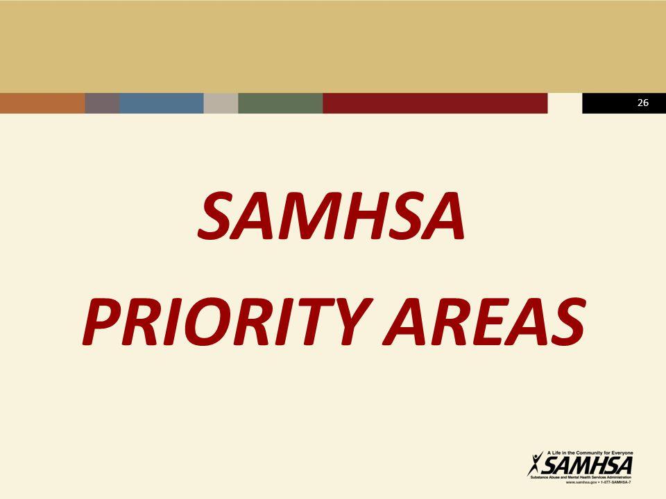 26 SAMHSA PRIORITY AREAS